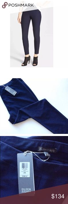 "EILEEN FISHER Midnight Blue Crepe Pants New with Tags Eileen Fisher crepe pants cut with a slim leg and ankle length inseam (26""). Beautiful midnight blue/navy color. easy to pair with your favorite pieces. Features a wide elastic waist band. This piece can be easily intergated into your wardrobe.    Material (%): 70 Viscose / 24 Nylon / 6 Lycra Pant Style: Slim Leg Ankle Pant  Fabric Stretches?: Yes  Condition: New with tag Care Instructions: Machine Wash Eileen Fisher Pants Ankle & Cropped"