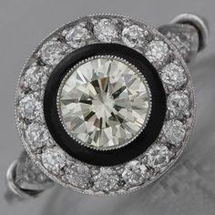 vintage art deco ring. diamond with black onyx.