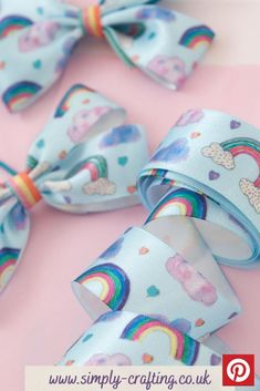 Rainbow Sky 25mm x 20m Reel #simplycrafting Diy Craft Projects, Diy Crafts, Rainbow Sky, Rainbow Crafts, Bow Accessories, Pink Clouds, Hair Bows, Ribbon Hair, Party Bags