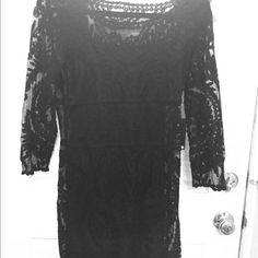 NEW Express black stretchy lace two piece dress This lacy dress has a attached slip underneath it it's stretchy and has very pretty detailed lace size medium brand-new Express Dresses Midi