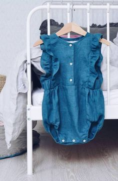 Handmade Button Front Linen Baby Romper | LaPetitePersonneShop on Etsy