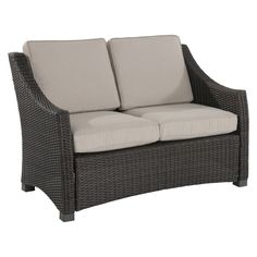 This outdoor loveseat gives your outdoor space a warm, classic feel. Mix and match this patio furniture with other pieces from the Belvedere collection to create an outdoor living space as cozy as the inside of yo...