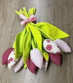 Items similar to Fabric Tulips bouquet 9 handmade Birthday Gift on Etsy Handmade Birthday Gifts, Handmade Gifts, Tulip Bouquet, Green Dot, Tulips, Dinosaur Stuffed Animal, Unique Jewelry, Fabric, Etsy