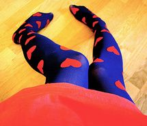 blue and red heart tights