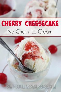 This simple NO CHURN Cherry Cheesecake Ice Cream Recipes is SO simple and delicious!