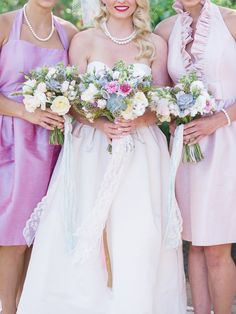 bridesmaids in pink and lilac // photo by Michele Beckwith // http://ruffledblog.com/the-notebook-inspired-wedding