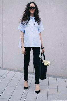 Bag: office outfits black slim jeans black black sunglasses street style looks pointed toe pumps