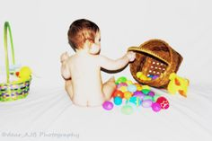 Happy Easter! ©dear_AJB Photography 2014 #dear_AJBphotography #BabysFirstEaster #ninemonths #Easter #babyboy #color #contrast #bright #deep #basket #eggs