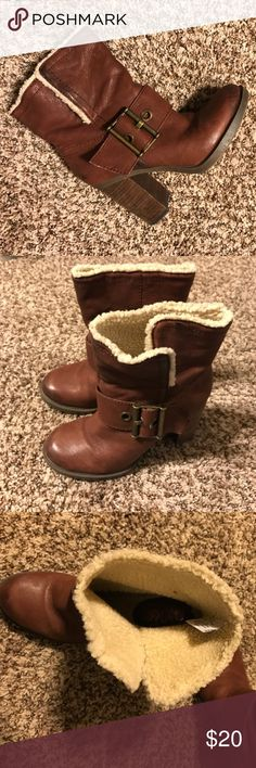Nine West Leather Boots Trendy boots with a stylish outer buckle in great condition! Nine West Shoes Heeled Boots