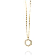 From Astley Clarke, London - one of their newest designs.  14kt gold hexagon shaped necklace with white pave diamonds