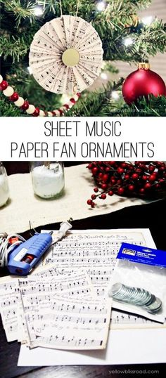 These vintage music sheet paper fan ornaments are an easy project that looks beautiful on your Christmas Tree!