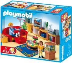 Playmobil Living Room by Playmobil. $34.99. 9.8 x 7.9 x 3 inches. Sarah sits on the sofa and puts her feet up in front of the TV in the living room! When her niece Lizzy comes to stay, Sarah pulls out the bed under the sofa.  Lizzy loves to watch the fish in her aunt's aquarium! The Playmobil Living Room is fully equipped with a comfortable sofa with footrest, which can also be converted into a bed, 4 cupboards, and aquarium, plus a TV and hi-fi! The set also includes...