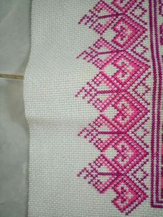 Purple tone Cross Stitch Borders, Cross Stitch Flowers, Cross Stitch Designs, Cross Stitch Patterns, Crochet Cross, Filet Crochet, Bohemian Wall Decor, Palestinian Embroidery, Needle And Thread