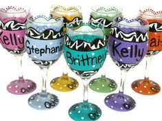 Painted Wine Glasses - Zebra Print Polka Dots - Wedding Party / Bridesmaid Gifts - Hand Painted - Can Be Customized. $16.00, via Etsy.