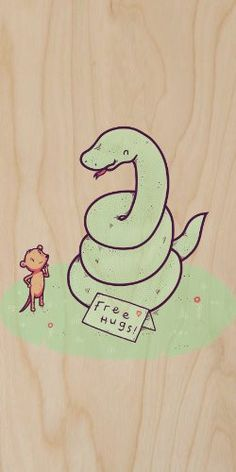 'Free Hugs' Funny Coiled Snake Offering Free Hugs to Mouse - Plywood Wood Print Poster Wall Art
