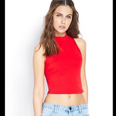 Red crop-top Soft, tight, red crop top. Only worn once! Forever 21 Tops Crop Tops