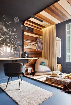 Like the wood behind the bed up onto the ceiling!