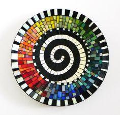 Mosaic Art Stained Glass Mosaic Vase on Ceramic by NewArtsonline Mosaic Madness, Mosaic Tray, Mosaic Tiles, Glass Tiles, Mosaic Crafts, Mosaic Projects, Mosaic Stepping Stones, Glazed Ceramic Tile, Mosaic Artwork