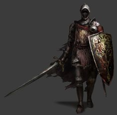 View an image titled 'Lothric Knight Art' in our Dark Souls III art gallery featuring official character designs, concept art, and promo pictures. Dark Souls 3, Demon's Souls, Red Knight, Knight Art, High Fantasy, Medieval Fantasy, Medieval Armor, Undead Knight, Great Sword
