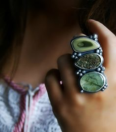 Beyond the Misty Forest - Prehnite, Pyrite Druzy, and Imperial Jasper Sterling Silver Ring