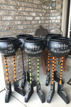 If you're looking for an awesome candy bowl, how about one of these cool cauldrons with witches' legs? They look fabulous either in the house or outdoors and are a sure hit this Halloween. If you're doing a socially distanced Halloween, just put one of these out on your yard, and let your trick-or-treaters help themselves. See more party ideas and share yours at CatchMyparty.com #catchmyparty #partyideas #halloween #halloweenpartydecorations #outdoorhalloweenpartydecorations #partysupplies