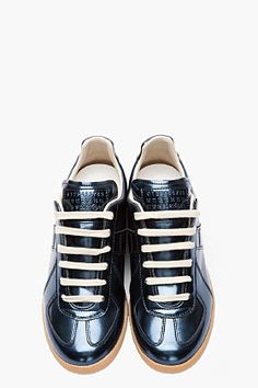 MAISON MARTIN MARGIELA Metallic blue leather Low Top sneakers