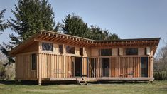 This entire cabin was built by a team of two, with architecture studio Crafted Works designing the structural components so that it could be assembled quickly and easily. Residential Architecture, Amazing Architecture, Acoustic Baffles, Vertical City, Timber Cabin, Timber Structure, Micro House, Tiny House, Cabins And Cottages