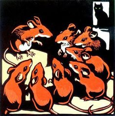 Chris Wormell mice cat woodcut