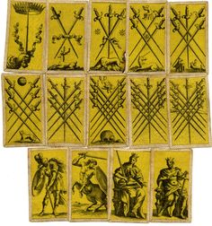 A complete pack of 97 tarot cards, printed on yellow silk, for the Florentine tarot game, minchiate. Etching on silk Backs woodcut in black with the arms of the Medici family 18th Century