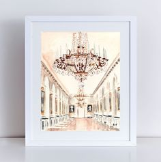 Chandelier at Petit Trianon Versailles Fine Art 8 x 10, 11 x 14 inches Giclee Print of Watercolor Painting Poster Paris Travel Photography Palace Architecture Ornate France Queen. Giclee print of original watercolor painting of a chandelier at the Petit Trianon, Marie Antoinette's haven within Versailles, with gilded symmetry and art adorning each alcove. The splendor of Versailles and the extravagance of Marie Antoinette marry in this space. Great as a gift for a glamour girl, a…