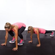 Sliding Burpee... I'm going to have to try these... put paper plates under your feet and get in plank position, pull you feet up to just behind your hands, then go back to plank.  Make sure your plank position is perfect... like you could draw an imaginary line from your neck down to your heels:)