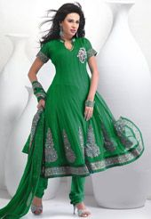 Green Faux Chiffon Anarkali Churidar Kameez