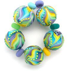 Michal S  Lampwork 5 round sphere bead set Emerald by MichalS, $110.00
