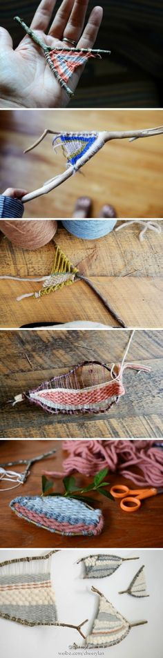 Weaving in corners of things - yarnbombing Weaving Projects, Weaving Art, Loom Weaving, Tapestry Weaving, Craft Projects, Diy And Crafts, Crafts For Kids, Arts And Crafts, Nature Crafts