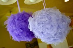 Tulle balls...using only styrofoam balls, pins, and tulle
