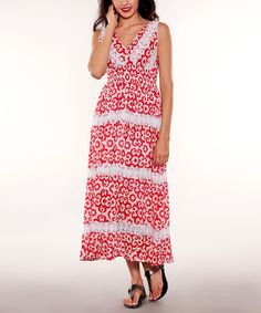 Look at this Sol Clothing White & Pink Crochet-Stripe Midi Dress on #zulily today!