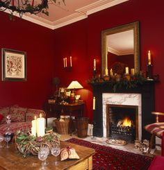 Of late I came across correspondingly many attractive perky rooms that use the red and white amalgamation that I thought it was time to put in a post. Color-wise, White is subtle and Red is intense. Red living room color is beautiful. Red Room Decor, Red Living Room Decor, Dining Room Colors, Christmas Living Rooms, Living Room Photos, Elegant Living Room, Living Room Designs, Red Living Rooms, Red Rooms