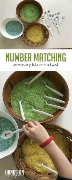 Help your child improve number recognition, working memory, and matching skills with this DIY sensory bin with a twist activity.  via @handsonaswegrow