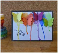 tarjeta arcoiris mariposas acuarelas