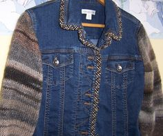 Upcycled Designer Denim Jacket Sweater by GreenbriarCreations, $52.00
