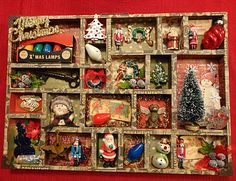 Christmas shadowbox - great way to display heirloom ornaments if you don't feel like putting up a tree