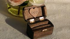Items similar to rustic wedding ring box, burlap wedding wooden ring box for 2 rings on Etsy Rustic Wedding Rings, Wedding Ring Box, Diy Wedding, Wedding Decor, Wedding Ideas, Wooden Ring Box, Wooden Rings, Pirate Wedding, Ring Bearer Box
