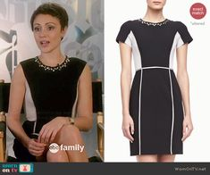 April's black and white studded colorblock dress on Chasing Life.  Outfit Details: http://wornontv.net/46007/ #ChasingLife