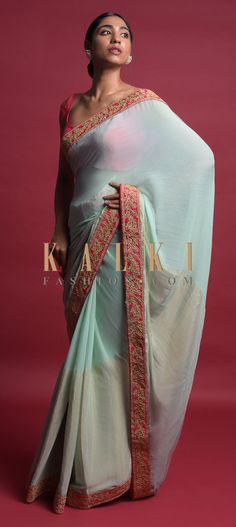 Tiffany blue saree in georgette. Border enhanced with shimmer and embellished with zari and thread embroidered floral pattern. Lace Saree, Sari, Wedding Sarees, Tiffany Blue, Festive, Free Shipping, Suits, Gallery