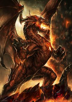 Lord Ylisiur by Chaos-Draco cover art for Neridian by Mario Martinez Arraval fire breathing dragon copper gold metallic lava volcano monster beast creature animal | Create your own roleplaying game material w/ RPG Bard: www.rpgbard.com | Writing inspiration for Dungeons and Dragons DND D&D Pathfinder PFRPG Warhammer 40k Star Wars Shadowrun Call of Cthulhu Lord of the Rings LoTR + d20 fantasy science fiction scifi horror design | Not Trusty Sword art: click artwork for source