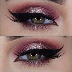 Burgundy & Champagne Eye Glitter Look: