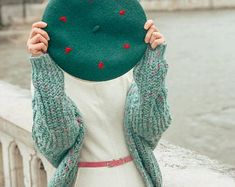 Beret Hat Bow Grey & Black Chevron Striped Wool Beret French | Etsy Crochet Hat For Women, Crochet Hats, Summer Hats, Winter Hats, Wool Berets, Black Chevron, Cotton Crochet, Girl With Hat, Pin Up Girls
