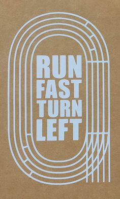 Vinyl window decal for the track & field athlete in your life! Featuring an oval track and the text RUN FAST TURN LEFT. Perfect for a car bumper or window.  approx. 4 x 6