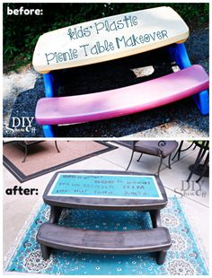 Plastic Picnic Table Makeover