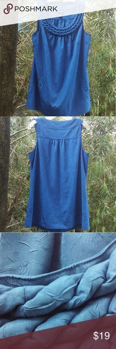 Lane Bryant Royal Blue Top, size 14/16W Lane Bryant Royal Blue Top, size 14/16W. Excellent pre-owned condition, like new. Beautiful material, see close up pictures. It has two pockets in the front, embellished neckline, absolutely gorgeous! Lane Bryant Tops Blouses